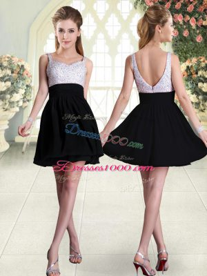 Decent Straps Sleeveless Backless Prom Gown Black Chiffon