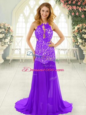 Popular Lavender Evening Dress Prom and Party with Lace Scoop Sleeveless Brush Train Backless