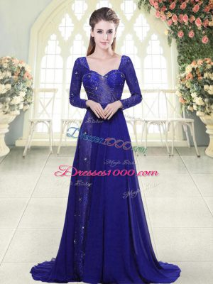 Royal Blue Chiffon Backless Prom Evening Gown Long Sleeves Sweep Train Beading and Lace