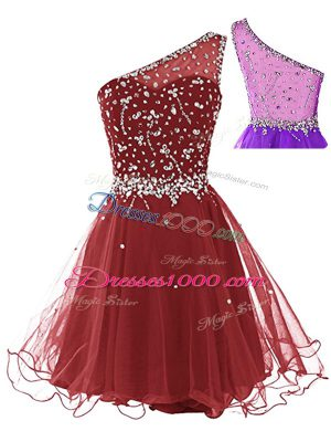 Sleeveless Side Zipper Mini Length Beading Homecoming Dress
