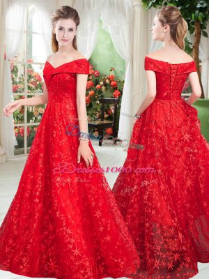 Off The Shoulder Sleeveless Lace Up Prom Gown Red Lace