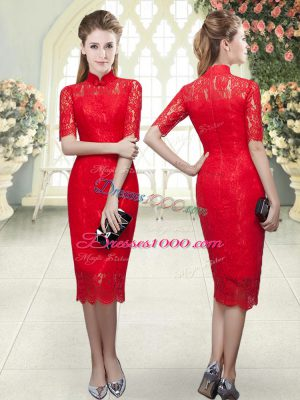 Column/Sheath Evening Dress Red High-neck Half Sleeves Tea Length Zipper