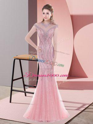 Sweep Train Mermaid Prom Dress Pink Scoop Tulle Cap Sleeves Zipper