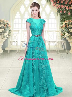 Flirting Aqua Blue and Green Cap Sleeves Sweep Train Beading and Lace Juniors Party Dress