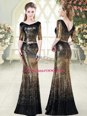 Fashionable Half Sleeves Floor Length Belt Zipper Homecoming Dress with Gold