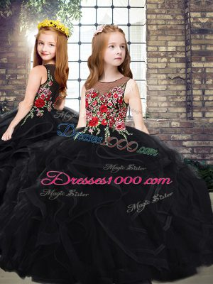 Black Scoop Neckline Embroidery and Ruffles Pageant Dress for Teens Sleeveless Zipper