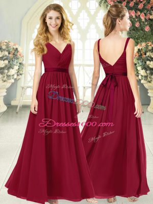 Wine Red Formal Dresses Prom and Party with Ruching V-neck Sleeveless Backless