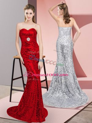 Elegant Sweetheart Sleeveless Sweep Train Belt Red Sequined