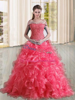 Sleeveless Organza Sweep Train Lace Up Quinceanera Dress in Coral Red with Beading and Lace and Ruffles