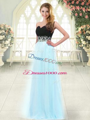 Sleeveless Tulle Floor Length Zipper Prom Dresses in Light Blue with Appliques