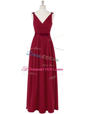 Sexy Wine Red Empire Ruching and Belt Going Out Dresses Zipper Chiffon Sleeveless Floor Length