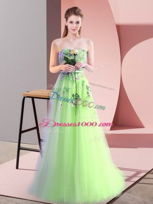 Cute Lace Up Prom Gown Appliques Sleeveless Floor Length
