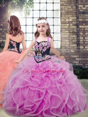 Straps Sleeveless Tulle Kids Pageant Dress Embroidery and Ruffles Lace Up