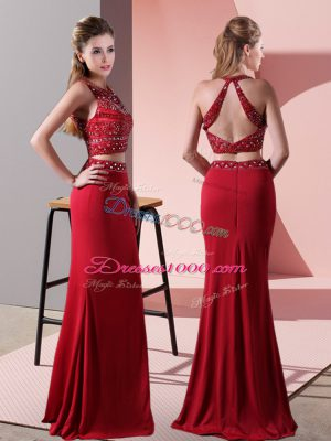 Red Halter Top Backless Beading Evening Dress Sleeveless