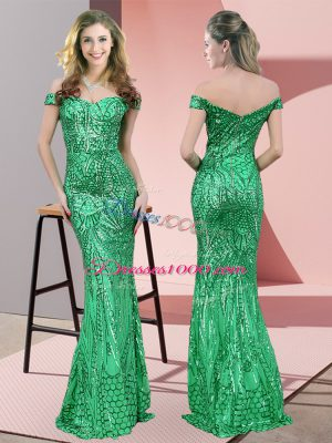 Ruching Prom Dresses Green Zipper Sleeveless Floor Length