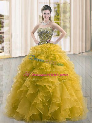 Decent Gold Organza Lace Up Quinceanera Dresses Sleeveless Floor Length Beading and Ruffles