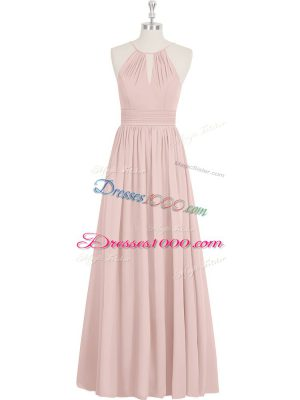 A-line Prom Gown Baby Pink Halter Top Chiffon Sleeveless Floor Length Zipper