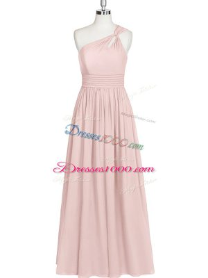 Customized Baby Pink One Shoulder Neckline Ruching Casual Dresses Sleeveless Side Zipper