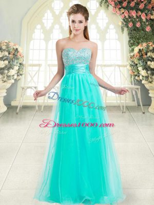 Dazzling Sweetheart Sleeveless Lace Up Homecoming Dress Aqua Blue Tulle