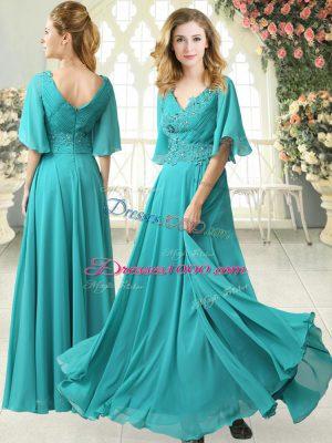 Dynamic V-neck Half Sleeves Prom Dress Floor Length Sweep Train Beading and Lace Aqua Blue Chiffon