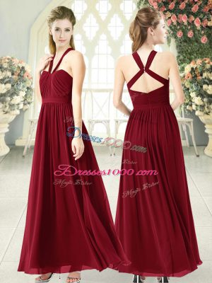 Floor Length Burgundy Juniors Party Dress Chiffon Sleeveless Ruching