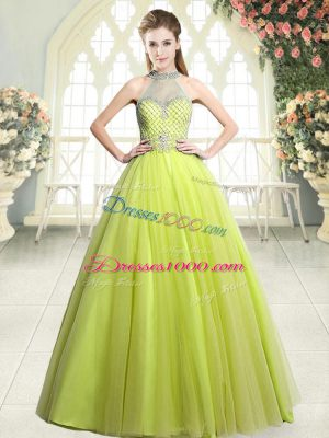 Sumptuous Tulle Halter Top Sleeveless Zipper Beading Prom Dresses in Yellow Green