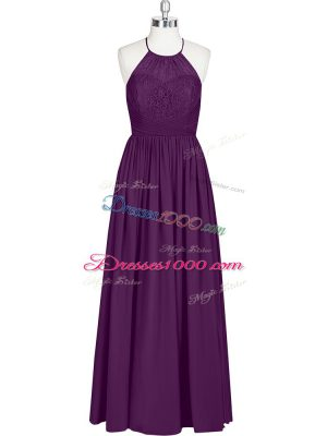 Eggplant Purple Chiffon Zipper Halter Top Sleeveless Floor Length Dress for Prom Lace