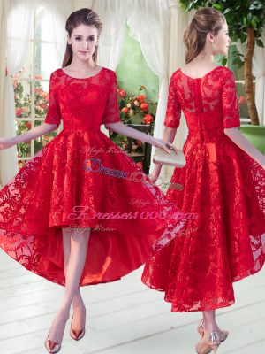 Red Zipper Scoop Lace Prom Gown Half Sleeves