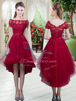 Glittering High Low Lace Up Prom Dresses Wine Red for Prom and Party with Appliques