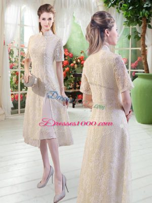 Fine Tea Length Champagne Dress for Prom Short Sleeves Lace