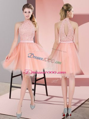 Peach High-neck Neckline Beading Prom Party Dress Sleeveless Zipper