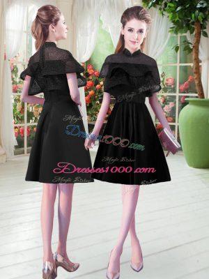 Noble Knee Length Black Prom Dresses High-neck Short Sleeves Zipper