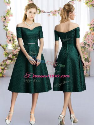 Custom Fit Dark Green Short Sleeves Lace Bridesmaids Dress for Prom and Party and Wedding Party