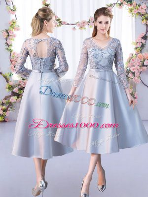 Tea Length Silver Wedding Guest Dresses Satin 3 4 Length Sleeve Lace