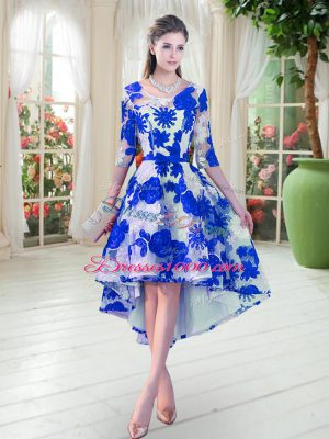 Half Sleeves Lace High Low Lace Up Prom Gown in Blue And White with Belt