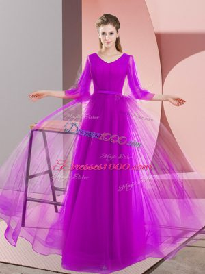 Charming V-neck Long Sleeves Lace Up Dress for Prom Purple Tulle