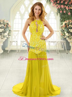 Flare Yellow Backless Prom Dress Lace Sleeveless Brush Train