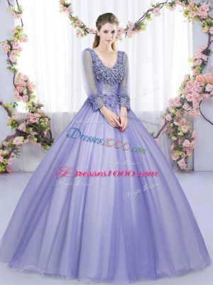 Traditional Lavender V-neck Neckline Lace and Appliques Quinceanera Gown Long Sleeves Lace Up