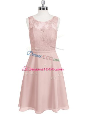Unique Baby Pink Clasp Handle Scoop Lace Prom Party Dress Chiffon Sleeveless