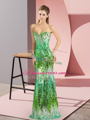 Sleeveless Floor Length Sequins Lace Up Custom Made with Multi-color