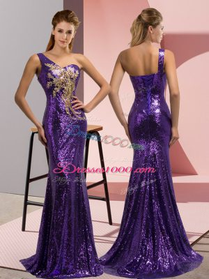 One Shoulder Sleeveless Sequined Prom Evening Gown Beading and Appliques Sweep Train Lace Up