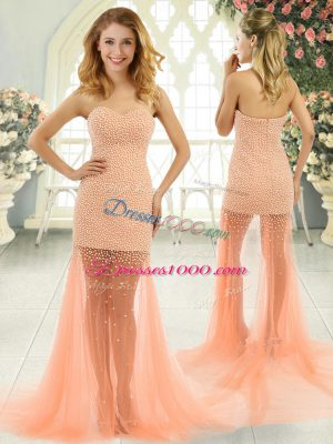 Orange and Peach Tulle Zipper Sweetheart Sleeveless Prom Dress Brush Train Beading