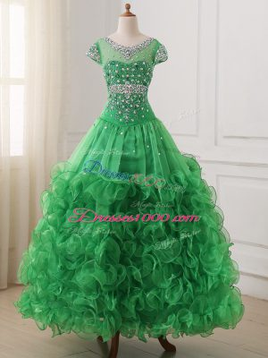 V-neck Cap Sleeves Pageant Dress Wholesale Floor Length Beading and Ruffles Green Organza