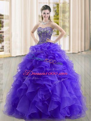 Purple Organza Lace Up Sweetheart Sleeveless Floor Length 15 Quinceanera Dress Beading and Ruffles