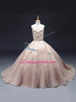 Beading and Appliques Pageant Dress for Girls Pink Lace Up Sleeveless Floor Length