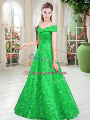 Best Green Sleeveless Lace Lace Up Homecoming Dress for Prom and Party