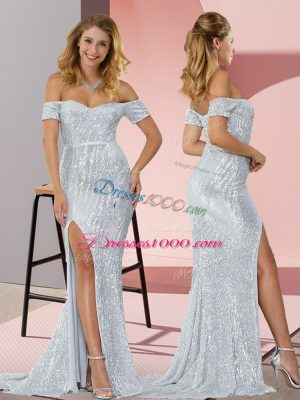 Silver Sequined Off The Shoulder Short Sleeves Dress for Prom Sweep Train Ruching