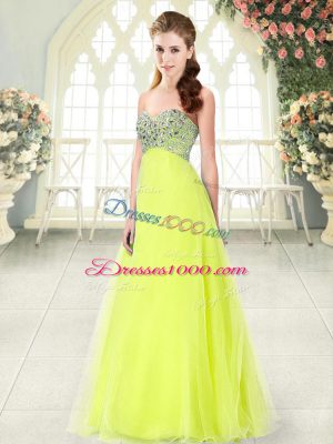 Floor Length Yellow Green Party Dress Wholesale Sweetheart Sleeveless Lace Up