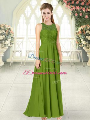 Captivating Scoop Sleeveless Dress for Prom Floor Length Lace Olive Green Chiffon