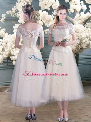 Tea Length A-line Short Sleeves White Prom Dress Lace Up